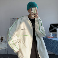 Jacket Other / other Youth fashion White, black M. L, s, XL, 2XL, 3XL, 4XL, 5XL, XS plus small routine easy Other leisure spring Long sleeves Lapel tide routine Zipper placket 2021 Rubber band hem Closing sleeve Geometric pattern Inlay decoration