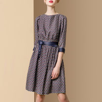 Dress Autumn 2020 Picture color small spot picture color pre-sale 25 days S M L XL Mid length dress singleton  three quarter sleeve street Crew neck middle-waisted Decor Socket A-line skirt routine Others 30-34 years old Type A Diffie Rieger printing DR20A0359 More than 95% other polyester fiber