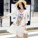 Dress Summer 2021 Picture color S,M,L,XL Short skirt singleton  Sweet V-neck Loose waist 18-24 years old Bohemia