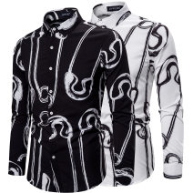 shirt Fashion City AOWOFS S,XL,L,M,XXL Black, white routine other Long sleeves standard Other leisure spring youth Simplicity in Europe and America other No iron treatment printing