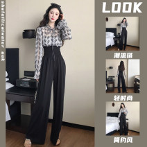 Women's large Summer 2021 Single sunscreen top single black casual pants Top + black casual pants two piece suit Other oversize styles Two piece set commute easy thin Condom Long sleeves Solid colors Korean version Crew neck routine Three dimensional cutting pagoda sleeve giwr-557826 Bandage trousers