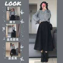 Women's large Spring 2021 Single skirt single knitted cardigan skirt + knitted cardigan suit Other oversize styles Two piece set commute easy moderate Socket Long sleeves Solid color Korean version routine Three dimensional cutting routine yJ3oUBq Savirry / shafeli Medium length Other 100.00%