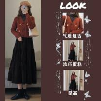 Women's large Spring 2021 Three piece set of undershirt, knitted cardigan and skirt Other oversize styles Three piece set commute easy moderate Socket Long sleeves Solid flower Korean version Crew neck routine Three dimensional cutting routine 5vbIV Savirry / shafeli Medium length Other 100.00%