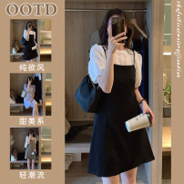 Women's large Summer 2021 Dress Two piece set commute easy moderate Socket Short sleeve Solid color Korean version Crew neck routine Three dimensional cutting puff sleeve 3EVo-539043 Savirry / shafeli Bandage Short skirt Other 100.00% Pure e-commerce (online only) other bow