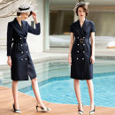 Dress Summer of 2019 Navy Dress, peacock green dress, navy navy long sleeve S,M,L,XL,XXL longuette singleton  Short sleeve commute tailored collar High waist Solid color double-breasted other routine Others 30-34 years old Type H AD Ol style Button Q285-Y 71% (inclusive) - 80% (inclusive) other