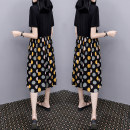 Dress Summer 2021 S,M,L,XL,2XL Mid length dress Fake two pieces Short sleeve commute Crew neck Loose waist Dot Socket A-line skirt routine straps Type X Other / other lady