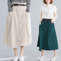Women's large Spring 2020 Average size [100-160 kg] skirt singleton  commute easy moderate Shape, solid color literature Cotton, others Collage Other / other 25-29 years old pocket 81% (inclusive) - 90% (inclusive) Medium length Irregular skirt