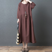 Dress Autumn of 2018 M,L,XL,2XL Mid length dress singleton  Long sleeves commute Crew neck Loose waist Solid color Socket other routine Others 25-29 years old Type A Other / other literature Splicing 71% (inclusive) - 80% (inclusive) hemp