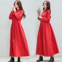 Dress Winter of 2018 Red, black M,L,XL,2XL longuette singleton  Long sleeves commute stand collar High waist Solid color other Big swing routine Others 30-34 years old Type A Other / other Retro Pocket, button 51% (inclusive) - 70% (inclusive) hemp