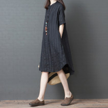 Dress Summer 2021 Red, black M,L,XL,2XL Mid length dress singleton  elbow sleeve commute Polo collar Loose waist stripe Socket A-line skirt routine Others 25-29 years old Type A Other / other literature Pocket, button 51% (inclusive) - 70% (inclusive) other hemp