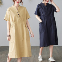Dress Summer 2021 Apricot, blue M [95-115 Jin], l [115-130 Jin], XL [130-145 Jin], 2XL [145-160 Jin] Mid length dress singleton  Long sleeves commute stand collar Elastic waist Solid color Socket other routine Others Type A literature pocket 51% (inclusive) - 70% (inclusive) brocade hemp