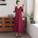 Dress Autumn of 2019 Red, green, black 100 kg longuette singleton  Long sleeves commute V-neck Loose waist Solid color Socket Big swing routine Others 40-49 years old Type A Other / other Retro Stitching, buttons, print 81% (inclusive) - 90% (inclusive) hemp