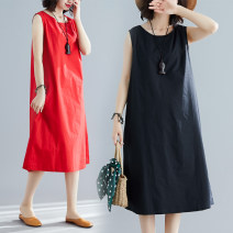 Dress Summer of 2019 Red, black M,L,XL,2XL Mid length dress singleton  Sleeveless commute Crew neck Loose waist Solid color Socket A-line skirt other Others 25-29 years old Type A Other / other literature 71% (inclusive) - 80% (inclusive) other cotton