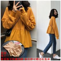 Nursing clothes S,M,L,XL,2XL,3XL Other Front buckle autumn Long sleeves Medium length other Sweater Solid color Lift up cotton
