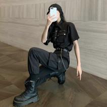 Casual suit Summer 2021 Short sleeve shirt (single piece), black pants (single piece) belt chain, short sleeve shirt + black pants belt chain S,M,L,XL 18-25 years old 81% (inclusive) - 90% (inclusive)