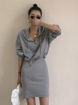 Dress Spring 2021 Gray, white, black S,M,L Short skirt singleton  Long sleeves commute V-neck High waist Solid color A-line skirt routine Others 18-24 years old Type H Korean version zipper 81% (inclusive) - 90% (inclusive) other other