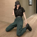 Casual suit Summer 2020 Black shirt, green pants (for belt chain), black pants (for belt chain), black shirt + green pants for belt chain, black shirt + black pants for belt chain S,M,L,XL 18-25 years old 81% (inclusive) - 90% (inclusive)