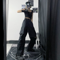 Casual pants Black pants, black pants + black vest S,M,L Summer 2020 Ninth pants Overalls High waist street routine 18-24 years old 81% (inclusive) - 90% (inclusive) other hole Hip hop