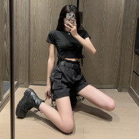 Casual pants Black shorts (belt free) one piece, side tie T-shirt + black shorts (belt free) S,M,L,XL Summer 2021 shorts Wide leg pants High waist street Thin money 18-24 years old 81% (inclusive) - 90% (inclusive) other pocket Hip hop