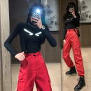 Casual pants Black top, red pants, black top + red pants S,M,L,XL Autumn 2020 trousers Overalls High waist street routine 18-24 years old 81% (inclusive) - 90% (inclusive) other chain Hip hop