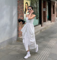 Dress Summer 2021 White dress S,M,L Mid length dress singleton  Sleeveless street One word collar High waist Solid color A-line skirt other 18-24 years old Type A Bow, open back 81% (inclusive) - 90% (inclusive) other other Europe and America