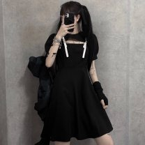 Dress Summer 2020 Little black dress S,M,L Short skirt singleton  Short sleeve street Crew neck High waist Solid color Socket A-line skirt puff sleeve Others 18-24 years old Type A Splicing, hollowing out 81% (inclusive) - 90% (inclusive) other polyester fiber Hip hop