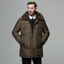 Down Jackets Khaki black blue There is a way White duck down 4XL M L XL 2XL 3XL Business gentleman Other leisure Medium length thickening Wear out Detachable cap Wear out middle age Business Casual The appearance is loose and the inside is closed Polyester 100% Solid color Hairy collar Winter of 2018
