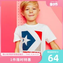 T-shirt Converse / converse male summer Short sleeve Crew neck leisure time There are models in the real shooting nothing cotton Solid color Cotton 100% Summer of 2018