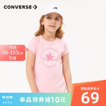 T-shirt Converse / converse 110/4 110/5 120/6 130/7 140/S 150/M 155/L 155/XL 60/9M 70/12M 80/18M 90/2T 100/3T neutral summer Short sleeve Crew neck leisure time There are models in the real shooting nothing cotton Solid color Cotton 100% 82187ST194 Class A Sweat absorption Summer of 2019