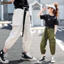trousers Antenna smart tree female 120cm 130cm 140cm 150cm 160cm summer trousers Korean version There are models in the real shooting Casual pants Leather belt High waist Cotton blended fabric Don't open the crotch Class B Autumn 2020