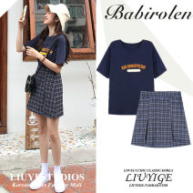 skirt Summer of 2019 XS,S,M,L,XL Check skirt, Navy T-shirt Short skirt commute High waist A-line skirt lattice Type A