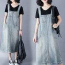 Dress Spring 2020 wathet M,L,XL,2XL Miniskirt singleton  Sleeveless commute One word collar Loose waist Solid color A-line skirt straps 25-29 years old Type A Play the flute literature straps 51% (inclusive) - 70% (inclusive) Denim cotton