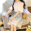 Dress Summer 2021 Blue top + skirt, white top + skirt S,M,L,XL Middle-skirt Two piece set Long sleeves commute Polo collar High waist Solid color Single breasted A-line skirt shirt sleeve 25-29 years old Type A Korean version 81% (inclusive) - 90% (inclusive) Denim cotton