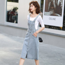 Dress Summer 2020 Denim blue S M L XL longuette singleton  Sleeveless commute High waist Solid color Socket A-line skirt straps 18-24 years old Mogge / mogge pocket More than 95% other Other 100% Pure e-commerce (online only)