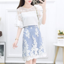 Fashion suit Summer of 2019 S M L XL Crew neck top polo collar top blue skirt crew neck suit polo collar suit Mogge / mogge MG19B0809 Other 100% Pure e-commerce (online only)