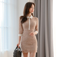 Dress Spring 2021 khaki S M L Short skirt singleton  three quarter sleeve commute Polo collar High waist Solid color zipper A-line skirt routine Others 25-29 years old Type A Aixier Korean version Lace More than 95% Lace polyester fiber Polyester 95% polyurethane elastic fiber (spandex) 5%