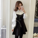 Dress Autumn of 2018 black S,M,L,XL,2XL Mid length dress Fake two pieces Long sleeves commute Polo collar middle-waisted Solid color Socket A-line skirt bishop sleeve Others Type A Korean version Bows, ties, buttons 31% (inclusive) - 50% (inclusive)
