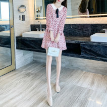 Dress Autumn 2020 Pink S M L XL Mid length dress singleton  Long sleeves commute Doll Collar High waist Broken flowers Socket A-line skirt shirt sleeve Others 25-29 years old Type A Sky wild blue printing T20f72 More than 95% other Other 100% Pure e-commerce (online only)