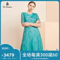 Dress Spring 2020 Turquoise 7/S 9/M 11/L 13/XL 15/XXL 17/XXXL Mid length dress elbow sleeve commute A-line skirt 35-39 years old La Danum / Adana Simplicity LPS800DR0 More than 95% nylon Polyamide fiber (nylon) 100%
