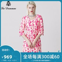 Dress Spring of 2019 gules 7/S 9/M 11/L 13/XL 15/XXL 17/XXXL Mid length dress three quarter sleeve commute V-neck High waist zipper 35-39 years old La Danum / Adana lady LAS112DR0 31% (inclusive) - 50% (inclusive) cotton Cotton 43.1% polyester 26.1% acetate 18.6% Silk 7.3% polyamide 4.9%