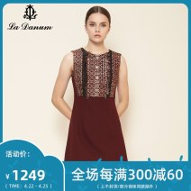 Dress Autumn of 2019 claret 7/S 9/M 11/L 13/XL 15/XXL 17/XXXL Short skirt singleton  Sleeveless commute Crew neck Others 35-39 years old La Danum / Adana lady LFA701DR0 71% (inclusive) - 80% (inclusive) Cellulose acetate