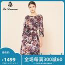 Dress Autumn of 2019 violet 7/S 9/M 11/L 13/XL 15/XXL 17/XXXL Mid length dress three quarter sleeve commute Crew neck Decor 30-34 years old La Danum / Adana lady LFA336DR0 More than 95% polyester fiber Polyester 100%