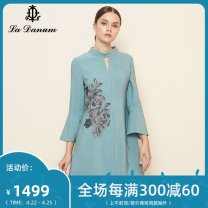 Dress Autumn of 2019 blue 7/S 9/M 11/L 13/XL 15/XXL 17/XXXL Middle-skirt singleton  Nine point sleeve commute Crew neck other Pencil skirt Lotus leaf sleeve Others 35-39 years old La Danum / Adana lady LFA837DR0 71% (inclusive) - 80% (inclusive) wool Wool 70.9% Silk 29.1%