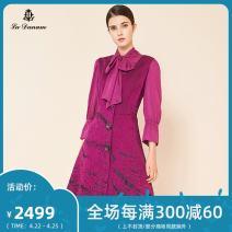 Dress Autumn of 2019 violet 7/S 9/M 11/L 13/XL 15/XXL 17/XXXL Mid length dress Nine point sleeve commute Scarf Collar Abstract pattern 35-39 years old La Danum / Adana lady 31% (inclusive) - 50% (inclusive) polyester fiber