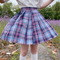 skirt Summer 2020 M,L,XL,2XL,3XL,4XL E-sports girl Short skirt Sweet Pleated skirt lattice 18-24 years old fold solar system