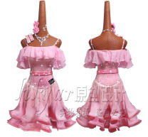 Latin Dance Costume Lilyar female S,M,L,XS,XXXS,XXS,XL Barbie Pink Dance Skirt md048, dance skirt md048 + belt, dance skirt md048 + belt necklace, arm ring and Earring flower Sequins
