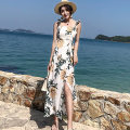 Dress Summer of 2018 Decor S,M,L,XL longuette singleton  Sleeveless Sweet square neck High waist Big flower Socket A-line skirt other straps 25-29 years old Type A More than 95% Chiffon polyester fiber Bohemia