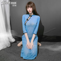 Pajamas / housewear set female Fei Mu Average size Blue [cheongsam dress + T pants] nylon Middle sleeve sexy pajamas spring Thin money Solid color Oblique lapel youth Mesh fabric Embroidery Perspective of long style cheongsam in the Republic of China Winter 2020 longuette