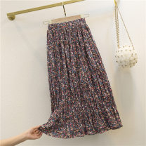 skirt Summer 2020 S M L XL gules longuette commute Natural waist Pleated skirt Decor 25-29 years old GD5F530-C-8011 More than 95% other Greta polyester fiber printing Korean version Polyester 100% Pure e-commerce (online only)