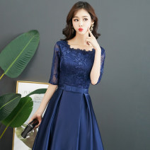 Dress / evening wear Wedding adult party company annual meeting performance XS S M L XL XXL XXL XXL tailor made, no return Navy Black Korean version Medium length middle-waisted Autumn of 2018 Self cultivation U-neck zipper 18-25 years old AS053 three quarter sleeve AI Shang Other 100%